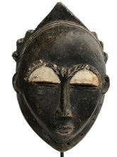 "Load image into Gallery viewer, Baule Portrait Hemet Mask Mblo/Kpan  Cote d'Ivoire Africa On Custom Stand 20"" H"