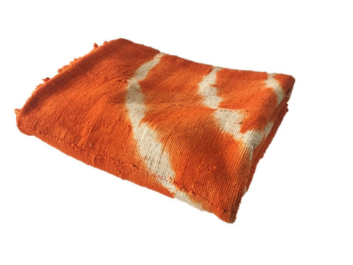 African Bogolan Textile Mud Cloth Orange & White 40