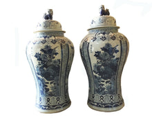 "Load image into Gallery viewer, #929 Mansion Size Chinoiserie B & W Porcelain Ginger Jars - a Pair 47"" H"