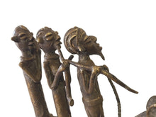 "Load image into Gallery viewer, Superb LG African Dogon Bronze Horseman W/ 3 Companions 14.5"" H by15"" w"