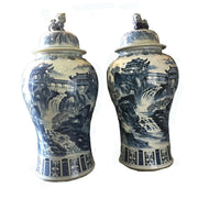Mansion Size Chinoiserie B & W Porcelain Ginger Jars - a Pair 47