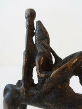 "Load image into Gallery viewer, Superb African Dogon Bronze Horseman Cast Handmade Mali 4"" W by 5"" H"