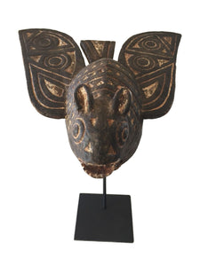 "Old Exquisite /Rare Mossi Bat Helmet / Mask  Burkina Faso 19"" H W/Stand"