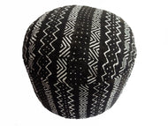 Superb Ottoman in African Malian Black & White Mud Cloth  Textile  16