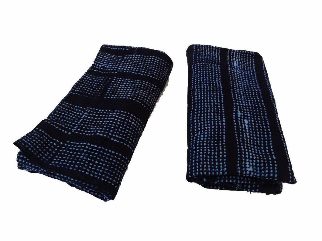 Malian Indigo Mud Cloth Textiles S/2 40