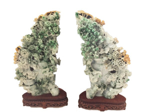 "Stunning LG Pair of Chinese Jadeite Jade Peony Groups  16"" H 20 LBS"
