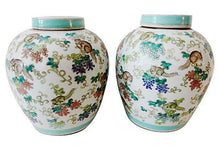 "Load image into Gallery viewer, #1640 Superb Chinese Porcelain  Famille Rose Ginger Jars pair 11"" H"