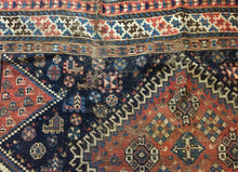 "Load image into Gallery viewer, Superb and Rare Antique Tribal  Persian  Kamseh  /Qasqai Rug  7' 6"" BY 4'.9"""