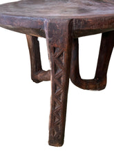 "Load image into Gallery viewer, #718 Old LG African 3-Legged Makonde Chair  Tanzania 55"" H"