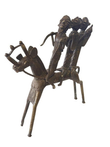 "Superb LG African Dogon Bronze Horseman W/ 3 Companions 14.5"" H by15"" w"