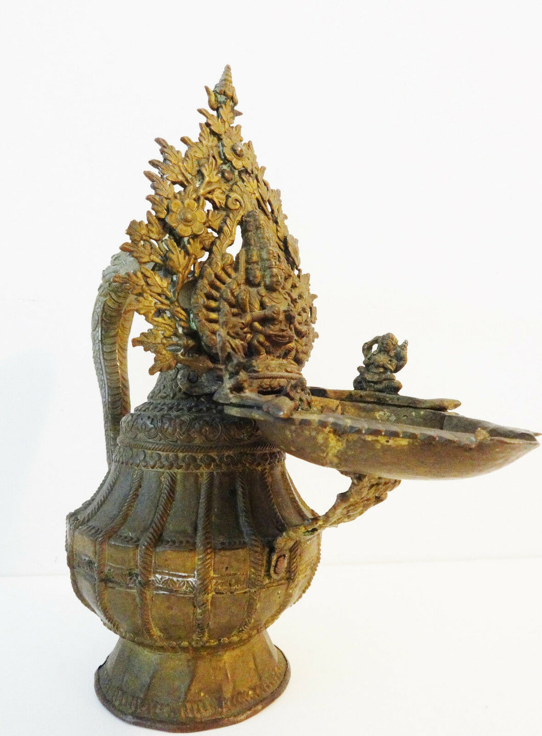 Superb Rare 19th Nepalese Bronze Ritual Vessel w/Buddhas