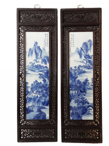 "Chinese H.Painted Large Blue and White Porcelain Wood Panels,Pair 20ʺW x 66""H"