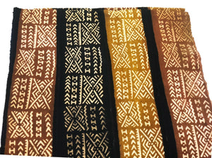 "Superb Bogolan Mali Mud Cloth Textile W/ Bone Trade Beads 40"" by 60"" # 295"