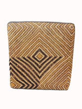 "Load image into Gallery viewer, Superb African Square Kuba Textile Ottoman 18.5"" L x 17"" W x 14"" H"