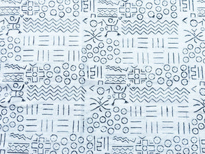 "African Bogolan Black and White Mud Cloth Textile Mali 40"" by 60"""
