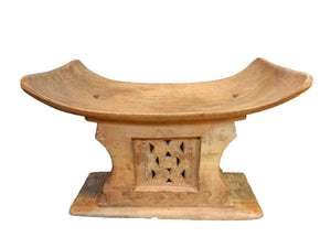 "Superb and Rare Old Ashanti Carved Wood  Stool 19.5"" W by 13.25"" H"
