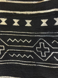 "African Mali Black and White Mud Cloth Textile / PAIR 64"" by 45.5"" Pair # 1839"