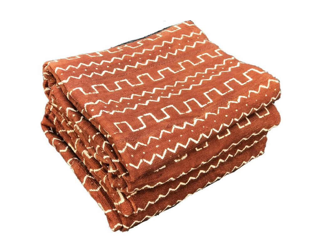 Pair Of African Bogolan Textile Brown and white Mud Cloth  64