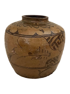 "#3695 Old Asian Earthenware Pottery Storage Jar 9"" h"