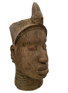 "Large Ife Clay / Terracotta Crowned Head of Oni Yoruba Nigeria African 18 ""H"