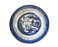 19th Century Chinese Canton Blue and White Porcelain Pagoda Motif Plate 8.5' D