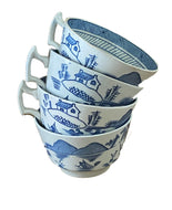 Antique English Woods Ware Canton S/4 Cups Blue Pagoda Pattern