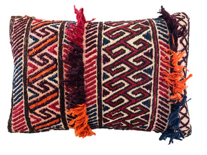 "Antique Lumbar Afghan Tribal Pillow 17.5"" W"
