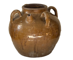 #3453 Old Asian Earthenware Pottery Storage Jar