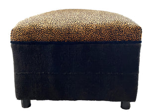 Custom Made Velvet Animal Print Ottoman #3328