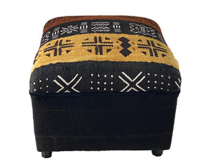 "Square Malian Mud Cloth Bogolan Textile Ottoman 15"" H by 18.5"" W  #3326"