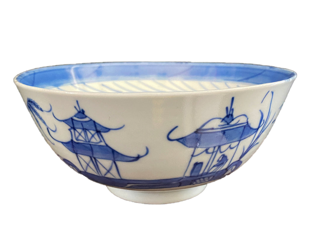 19th Century Chinese Canton Blue and White Porcelain Pagoda Motif Bowl 6