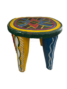 "Superb African LG Colorful Nupe Stool Nigeria 11.75"" h"