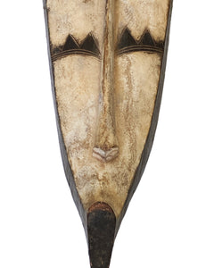 "# 3459 Lg Fang Mask Elongated Face Gabon African Mask 31.25"" H"