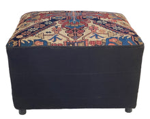 Load image into Gallery viewer, #3757 Lg Custom Made Ottoman W/Antique Caucasian Rug