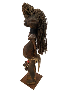 "Old African Fetish female Figure Statue Congo 14"" H"