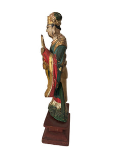 Antique Asian  ca 1800's carved wood standing figure