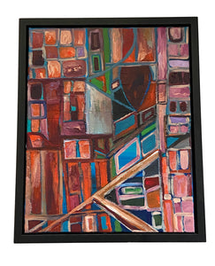 "Acrylic on Canvas Framed Abstract 21.75""By 17.75 "" Framed Signed Yjr"