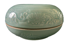 "Load image into Gallery viewer, Chinese Hand Carved Celadon Box 9.75"" Diameter"