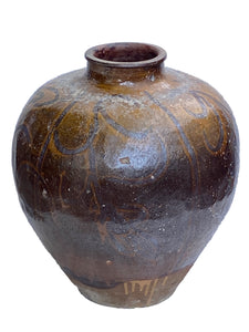 "#3512 Old Asian Earthenware Pottery Storage Jar 20"" h"
