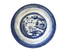 Load image into Gallery viewer, 19th Century Chinese Canton Blue and White Porcelain Pagoda Motif Plate 8.5' D #  3156
