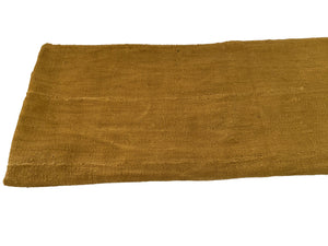 "African Plain Mustard Color Mud Cloth Textile Mali 64"" by 41"""