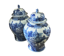 Load image into Gallery viewer, #3159 Chinoiserie Blue and White Porcelain Ginger Jars