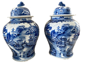 #3159 Chinoiserie Blue and White Porcelain Ginger Jars