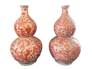 "#3165 Coral and White Chinoiserie Dragon Double Gourd Vases Pair 25"" H"