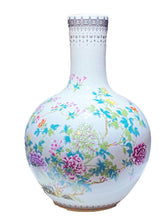 "Load image into Gallery viewer, # 3477 Large Chinoiserie  Porcelain Onion Shaped Vase 22"" H"