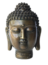 "Load image into Gallery viewer, #2957 Asian Bronze Buddha Head 7.25"" H"