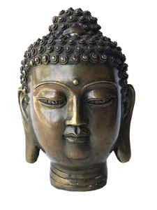 "#2957 Asian Bronze Buddha Head 7.25"" H"