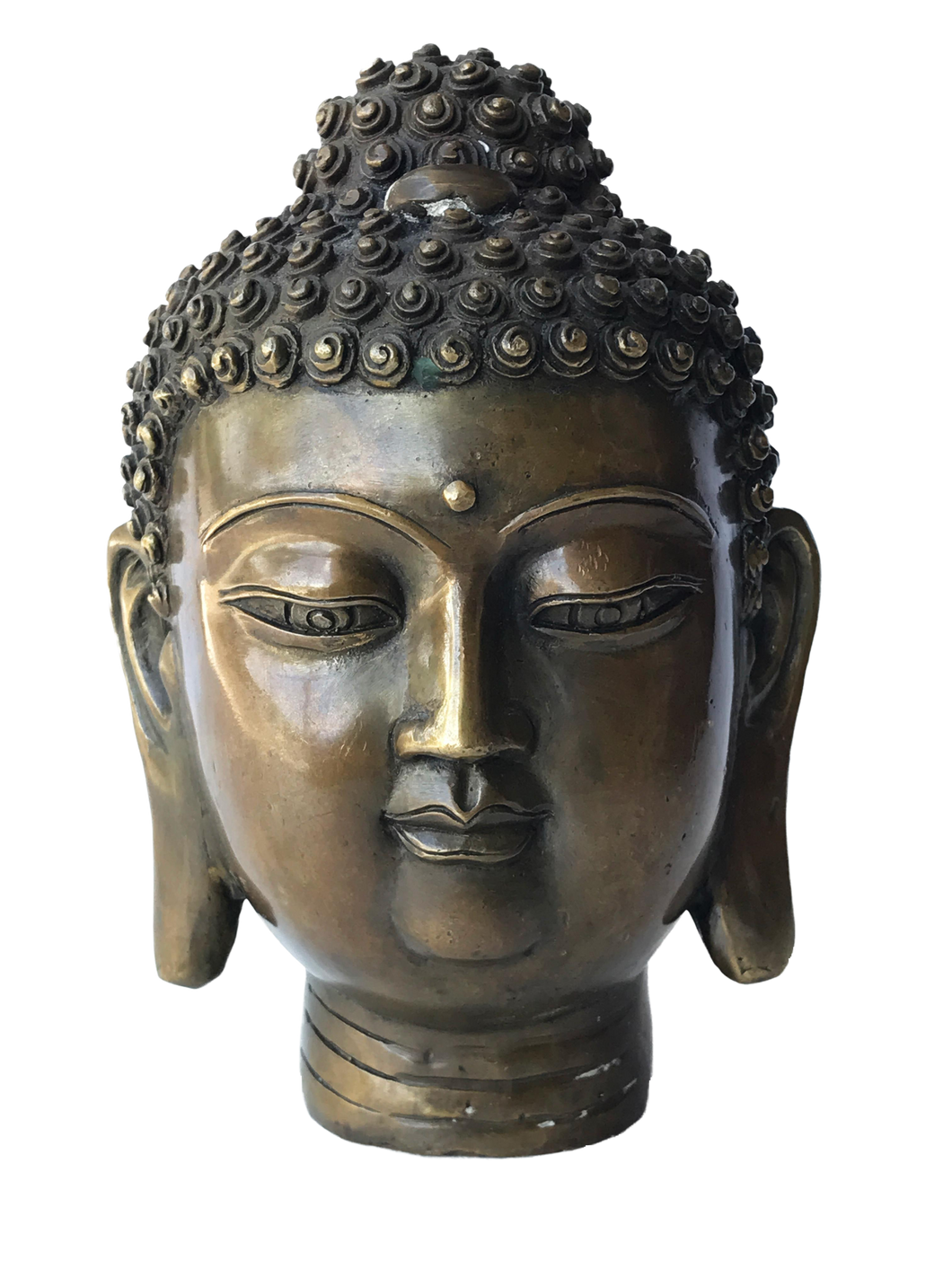 #2957 Asian Bronze Buddha Head 7.25