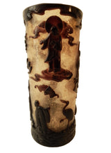 "Load image into Gallery viewer, Aubergine & Gold Peking Glass Vase w/ Buddha 9.75"" H"