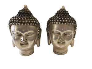 "Bronze Plated Silver Buddha Heads - a Pair 5.5"" H"